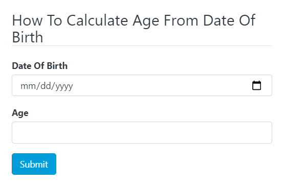 Calculate Age From Date Of Birth