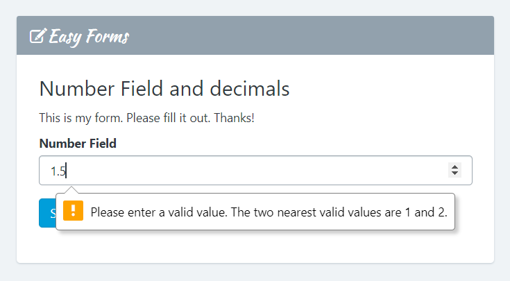 Number Field and decimals (floats) - Easy Forms
